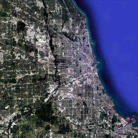 Satellite view, 90km, Metropolitan Chicago, Illinois, USA, Google Earth