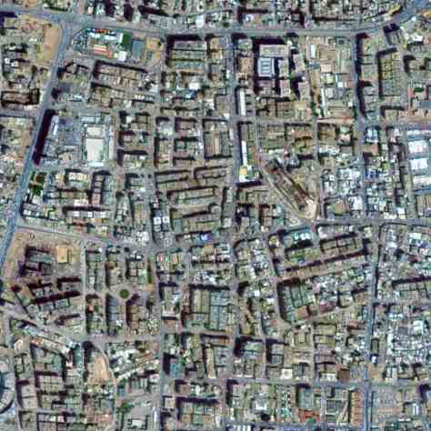 Satellite view, 2 km, super block, neighborhood, Doha, Qatar, Google Earth