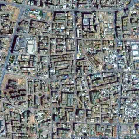 Satellite view, 2 km, super block, neighborhood, Doha, Qatar, Google Earth