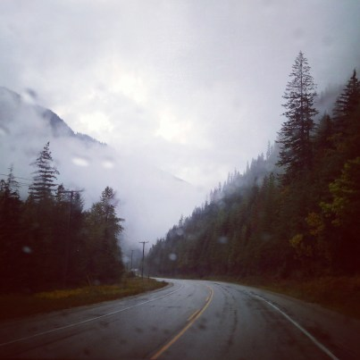 misty, foggy, cloudy as we left #revelstoke this AM #BritishColumbia