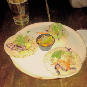 not a great picture of the MOST DELICIOUS shrimp tacos