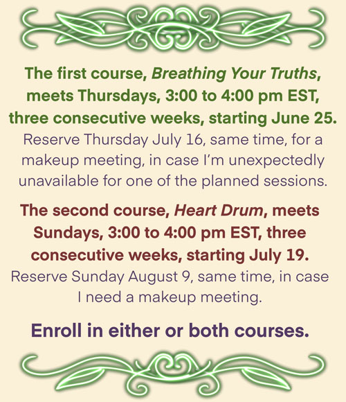 Enroll in either or both courses. The first course, Breathing Your Truths, meets Thursdays, 3:00 to 4:00 pm EST, three consecutive weeks, starting June 25. Reserve Thursday July 16, same time, for a makeup meeting, in case I'm unexpectedly unavailable for one of the planned sessions. The second course, Heart Drum, meets Sundays, 3:00 to 4:00 pm EST, three consecutive weeks, starting July 19. Reserve Sunday August 9, same time, in case I need a makeup meeting.