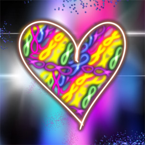 A heart with a rainbow of infinity signs in it. Painting by FDG.