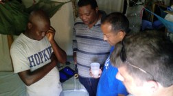 Missionaries pray for the pastoral family in the old house.
