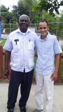 Pastor Geraldo Difren with Ruddy Carrera. Geraldo is the founder and ideologist of this missionary area.