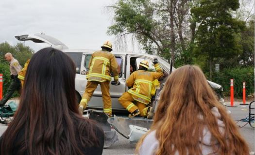 "OUTLOOK photo As part of the ""Every 15 Minutes"" program two years ago, students watched as their peers performed in a graphic simulated drunk driving crash in front of La Cañada High School."