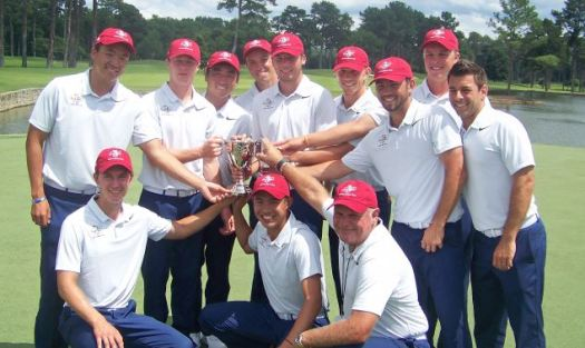 Photo courtesy Mastro Communications Former LCHS standout Collin Morikawa (front row, center) helped Team USA recapture the Arnold Palmer Cup last Sunday at Atlanta Athletic Club. Morikawa was invited to the competition after a stellar season at Cal.