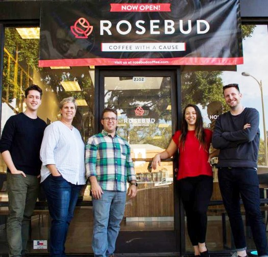 Photo courtesy Rosebud  Rosebud's launch team and staff include Chris Thomas, Liz Barman, Executive Director Dan Davidson, cafe manager Stephanie Sharp and Michael Wiltshire.