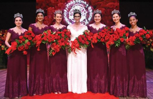 Photo courtesy Tournament of Roses The Tournament of Roses named Louise Siskel (center) as the 2019 Rose Queen at the coronation ceremony held last week at the Pasadena Playhouse. Flanking her are members of the Royal Court, including (from left) Helen Rossi, Rucha Kadam, Lauren Baydaline, Micaela McElrath, Sherry Ma and Ashley Hackett.