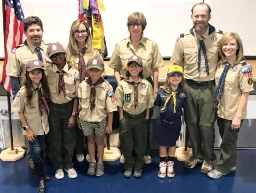 Pack 515 Scouts include Chance Szebelledy (front row, from left), Aditi Iyer, Jessica Seo, Bella Castano and Maggie Cripps. Back: Cubmaster Bardo Ramirez, Webelo den leader Theresa Szebelledy, Becky Castano and Wolf den leaders Jesse and Sommer Cripps.