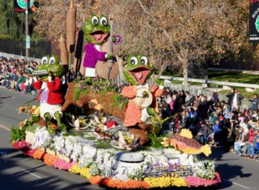 "Photo by Toni LeBel / OUTLOOK The La Cañada Flintridge Tournament of Roses Association float, titled ""Tree Frog Night,"" won the Founder Award before taking a ride down Colorado Boulevard in the Rose Parade on Tuesday."