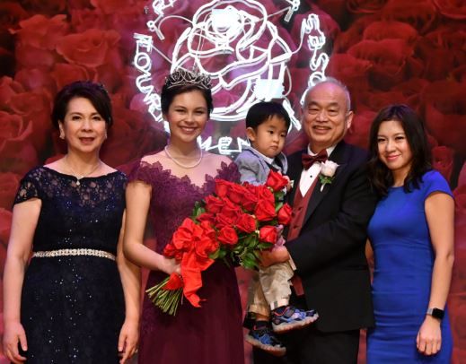Rose Princess Sherry Ma, daughter of Kristy Ma (from left) and Alex Luk, is one of two San Marino girls on the Rose Court this year. Also pictured is her sister, Sally Yang, and her nephew.