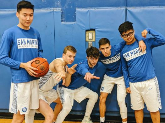 Photo courtesy Mihail Papadopulos San Marino seniors Eric Fu (from left), Chris Wicke, Michael Baldocchi, Cristian Mata and Jason Wee were honored prior to the Titans' 74-35 victory over Pasadena Blair last Saturday.