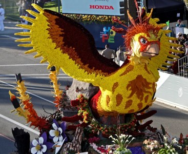 The Burbank Tournament of Roses Assn.'s 2020 Rose Parade float travels down Colorado Boulevard during this year's event on New Year's Day. The volunteer-run organization is moving forward with its 2021 float amid the coronavirus pandemic.