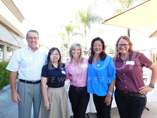LCHS Principal Jim Cartnal, LCFEF chairwoman Lola Dietrich, Superintendent Wendy Sinnette, LCFEF executive director Marilyn Wang and LCUSD Chief Technology Officer Jamie Lewsadder.