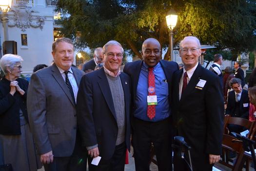 PEF Executive Director Patrick Conyers, Mayor Terry Tornek, PUSD Superintendent Brian McDonald and Exemplary Service Award recipient Bill Creim