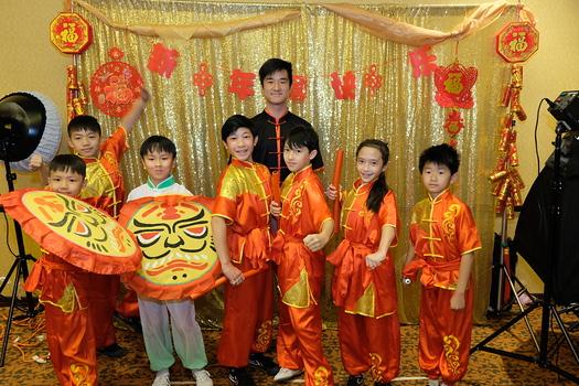 Wushu Action Star Academy performers Jody Chen, Cody Chen, Isaac Wong, Kevin Tsai, Jacky Zhang, Logan Huang, Delphine Huang and Victor Tao