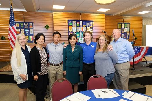San Marino Rotary President Denise Wadsworth, Charlene and Raye Cheng, Congresswoman Judy Chu, and Grady, Kara and Al Gills