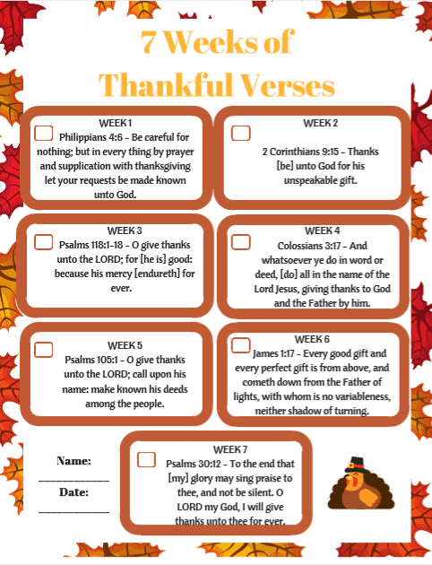 graphic relating to Printable Bible Verses Kjv referred to as 7 Months of Grateful Bible Verses KJV Snapshot - The