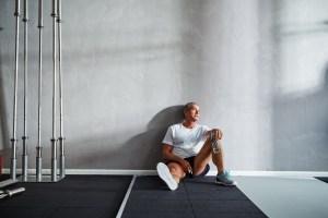 Older athlete resting after workout