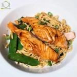 Teriyaki zalm met noodles