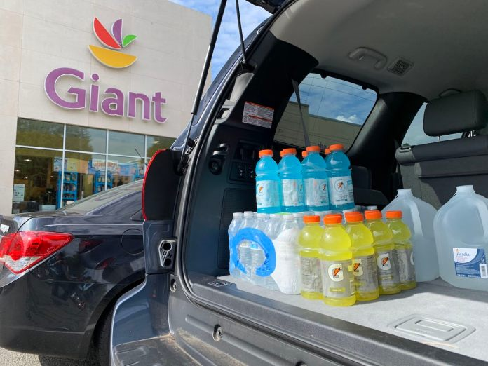 Gatorade and water in back of 2019 Toyota Sequoia
