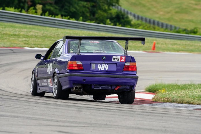 Pitt Race purple E36 M3 rear racing