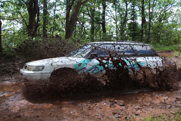 Subaru Legacy through mud
