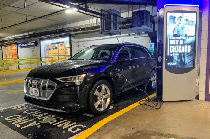 Audi E-Tron at Volta charging station