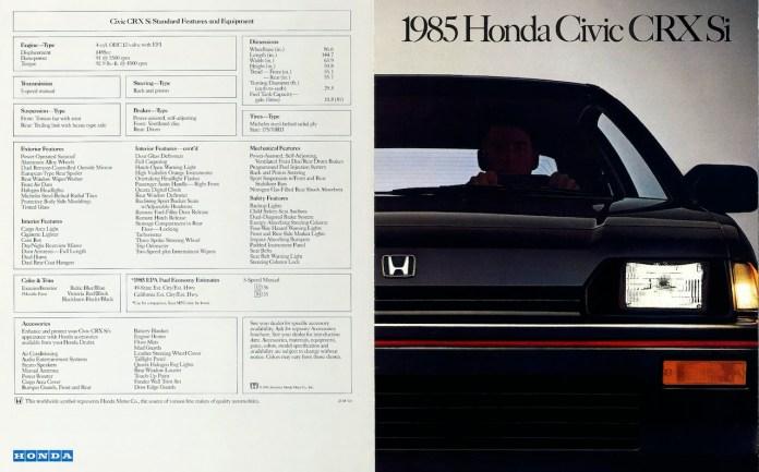 1985 Honda CRX Si brochure