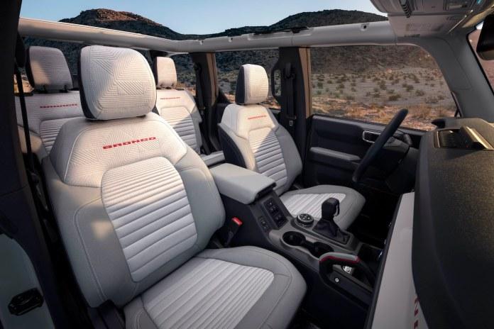 2021 Ford Bronco white interior