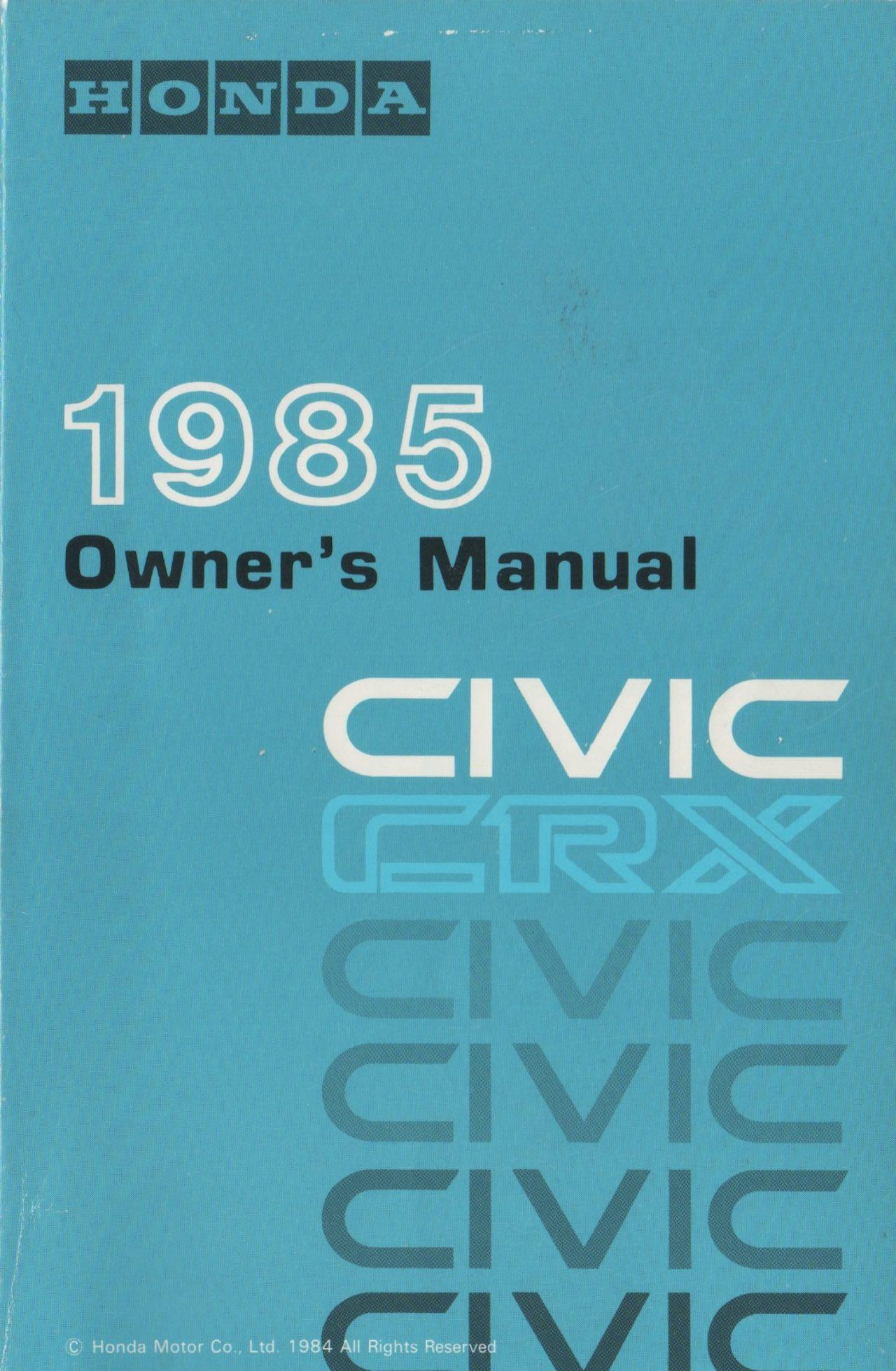 1985 Honda CRX Si owners manual