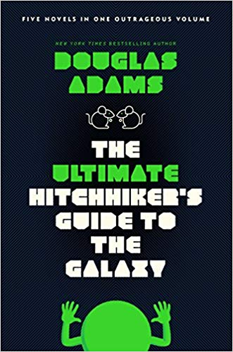 The cover of Hitchhiker's Guide to the Galaxy by Douglas Adams.