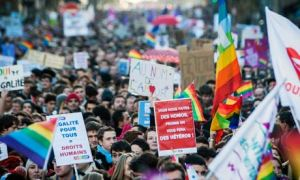 Pro gay-marriage marches in Paris