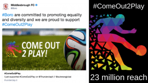 Middlesbrough FC becomes the first team to support the #ComeOut2Play campaign