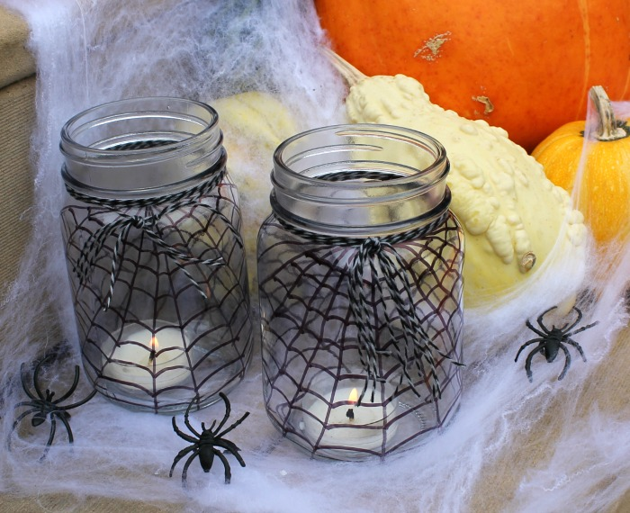 Spider Web Mason Jars for Halloween