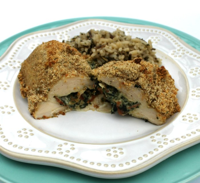 Spinach Bacon & Cheese Parmesan Crusted Chicken Breasts Recipe