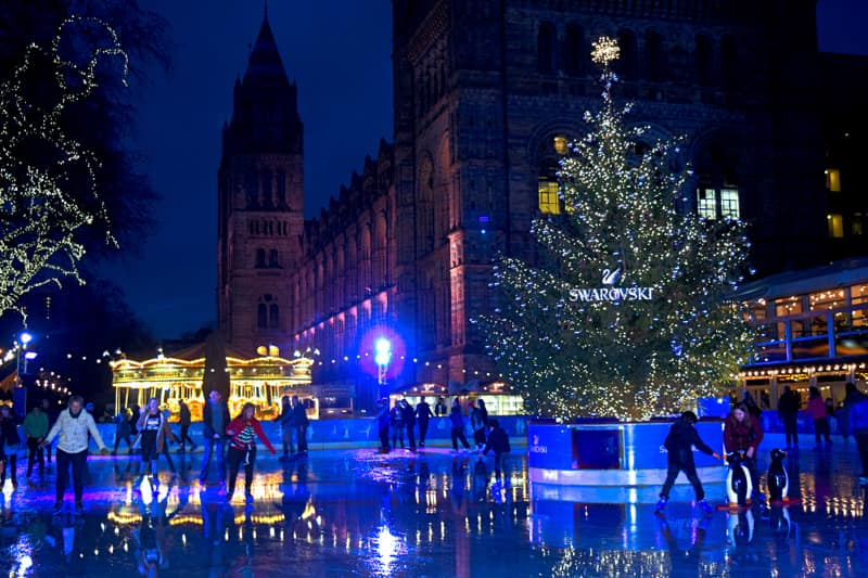 London Christmas Natural History Museum Swarovski Ice Rink