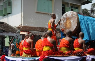 Monks, water and drums