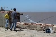 Uruguay Montevideo rambla fishermen