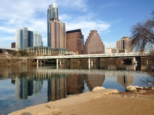 Austin, reflections, from Lady Bird Lake Walk