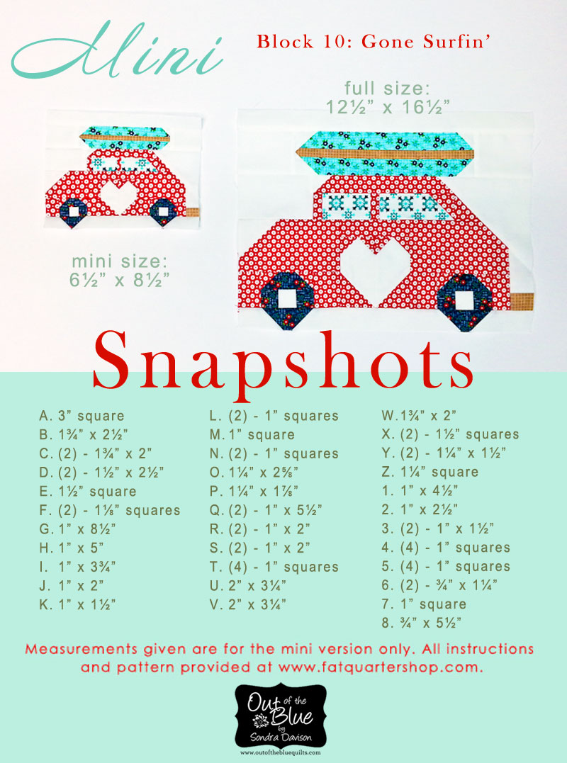 Snapshots Quilt-Along Mini Quilt Block 10 Pattern│Out of the Blue Quilts