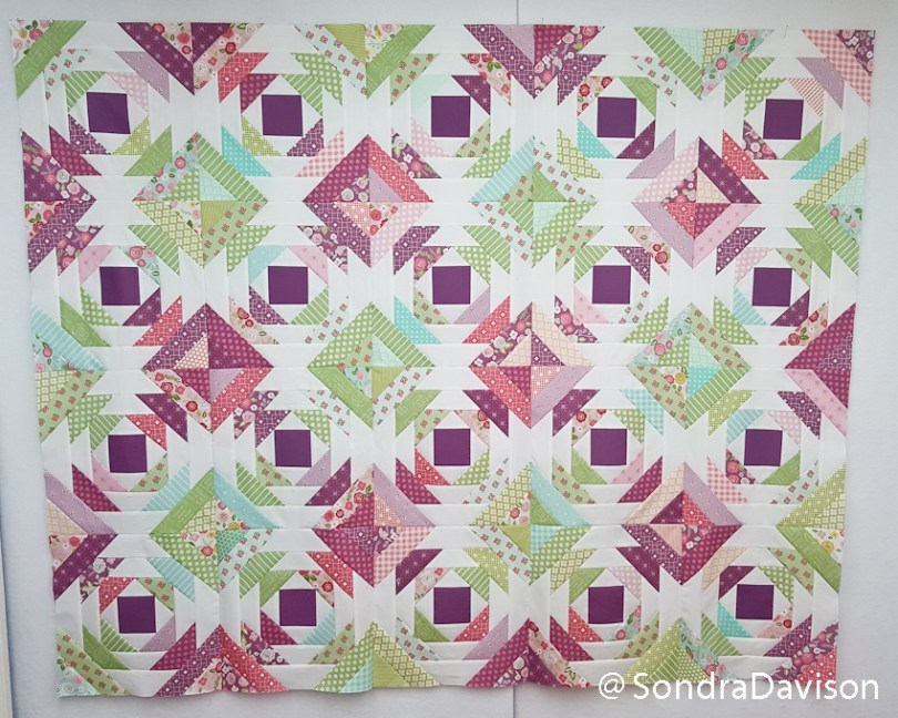 Design wall layout of pineapple quilt