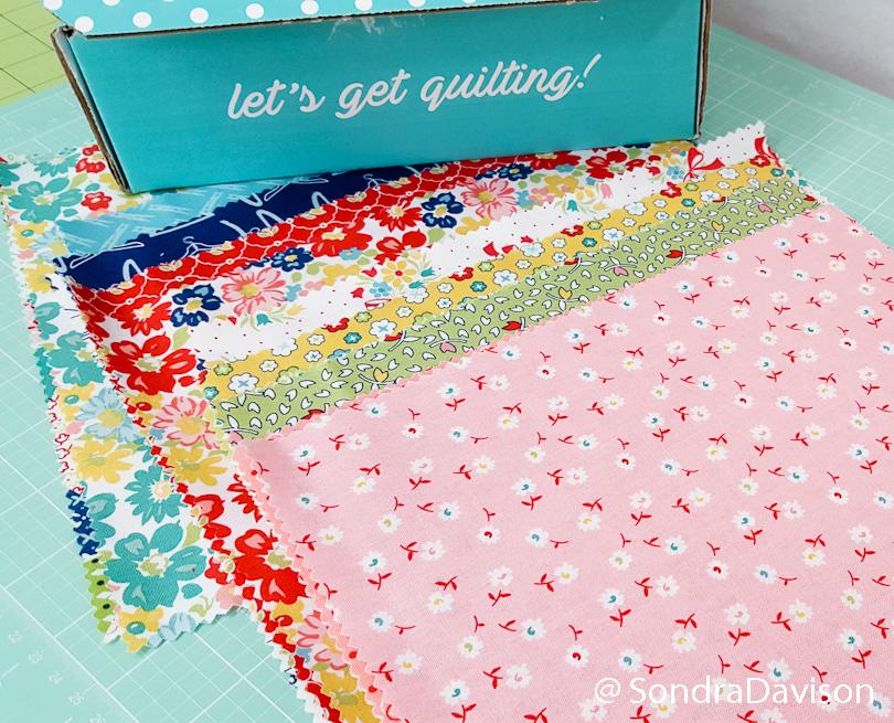 using fqs sew sampler fabrics for carolina lily quilt block