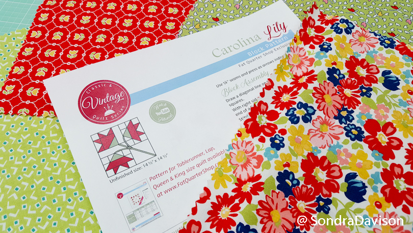 preparing fabrics for carolina lily quilt block