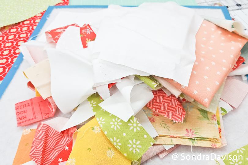 fabric scraps used in carolina lily quilt block
