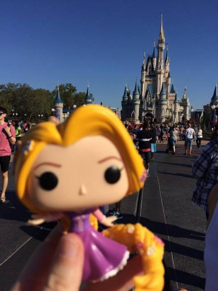 Rapunzel with full view of the castle.
