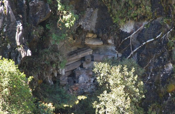 Zoomed Photo of Hanging Coffins in Sagada