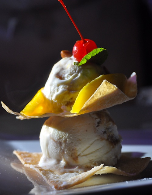 Ice Cream Tower in Mango and Caramelized Almond