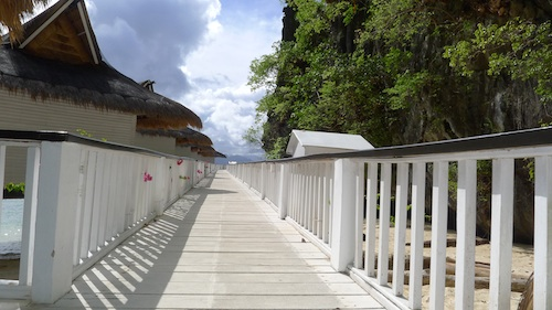 Foot bridge to the water cottages
